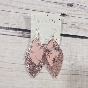 Handmade faux leather earrings pink floral print